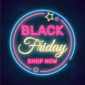 Sinal de venda de néon preto na sexta-feira