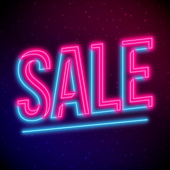 Sinal de venda de néon rosa e azul