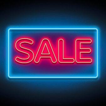 Sinal de venda neon vermelho