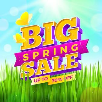 Sinal de venda primavera com buteerflies em um fundo de natureza. ilustração.