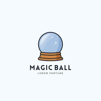Sinal de vetor abstrato bola mágica, emblema ou modelo de logotipo.