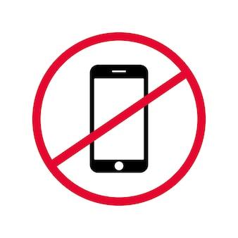 Sinal de vetor proibindo o uso de dispositivo móvel em local específico.