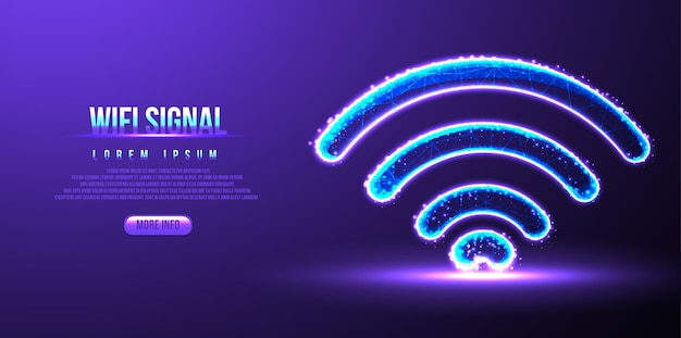 Sinal de wi-fi, wireframe low poly