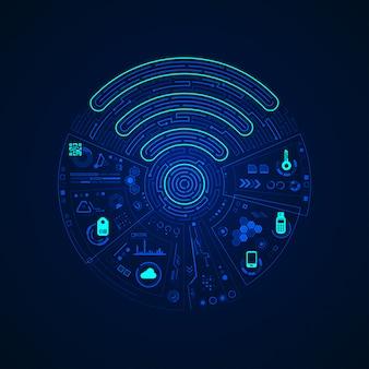 Sinal de wifi com interface de comunicação digital