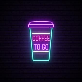 Sinal de xícara de café de néon.