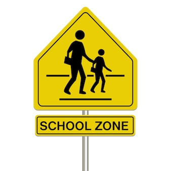Sinal de zona escolar em um fundo branco
