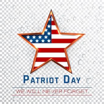 Sinal digital do dia do patriota com estrela no fundo gota de chuva