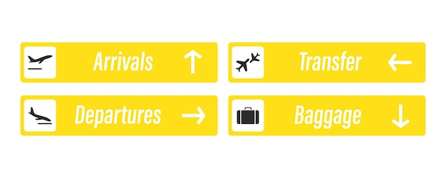 Sinal do aeroporto. chegadas, partidas, bagagens e traslados - placas informativas. check in, painel informativo sobre a direção de chegadas e partidas nos aeroportos. avião de decolagem e pouso
