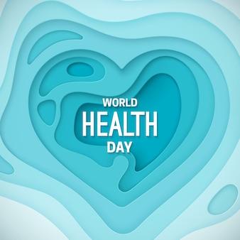 Sinal do dia mundial da saúde no fundo do coração em camadas azuis
