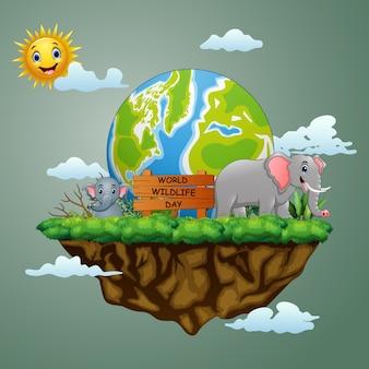 Sinal do dia mundial da vida selvagem com a mãe elefante e seu filhote