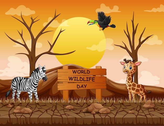 Sinal do dia mundial da vida selvagem com animais na terra seca