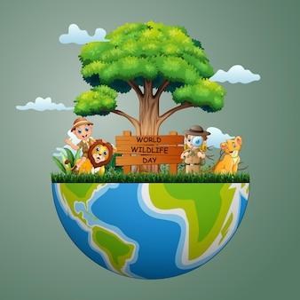 Sinal do dia mundial da vida selvagem com meninos zeladores e leão