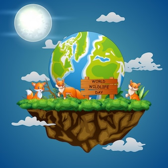 Sinal do dia mundial da vida selvagem com três raposas na paisagem noturna