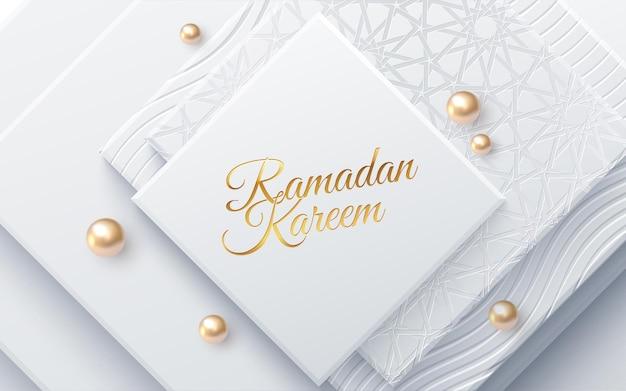 Sinal do feriado de ramadan kareem em formas geométricas brancas e pérolas