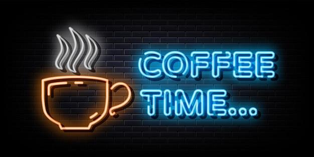 Sinal do logotipo de néon da hora do café, símbolo de néon