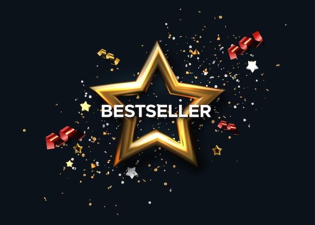 Sinal do prêmio mais vendido com estrela dourada e confete