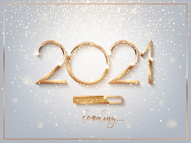 Sinal dourado de ano novo de 2021 com barra de carregamento