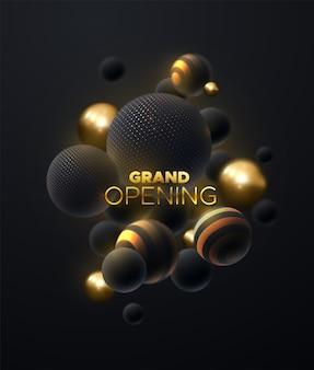 Sinal dourado de inauguração com esferas brilhantes pretas e douradas
