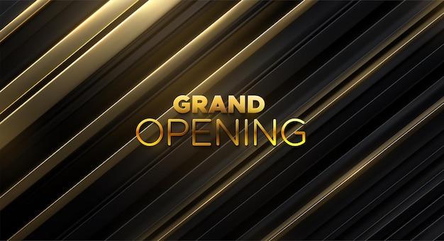 Sinal dourado de inauguração em superfície fatiada preta e dourada