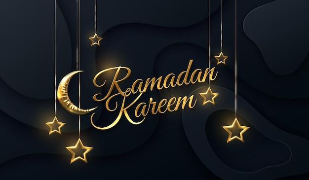 Sinal dourado de ramadan kareem com lua crescente e estrelas suspensas