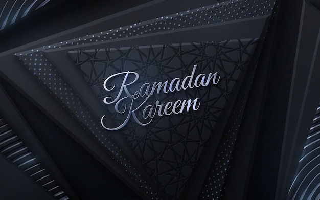 Sinal dourado de ramadan kareem em formas geométricas pretas e padrão girih tradicional