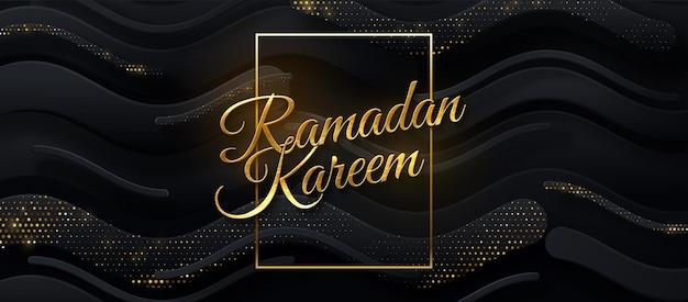 Sinal dourado de ramadan kareem em fundo de papel preto com brilhos