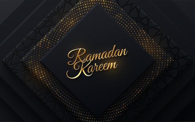 Sinal dourado de ramadan kareem em fundo de papel preto com padrão girih e brilhos