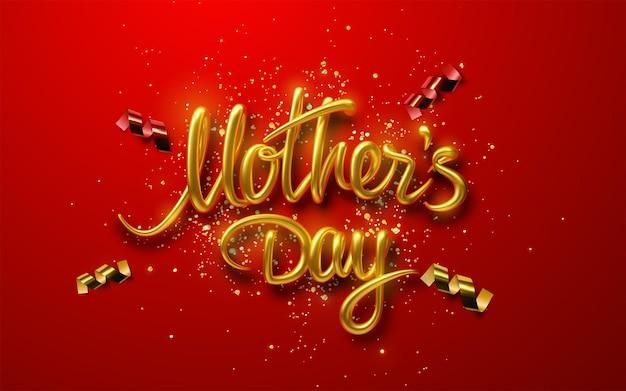 Sinal dourado do dia das mães com partículas de confete isoladas