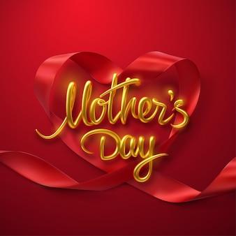 Sinal dourado do dia das mães e coração de fita vermelha