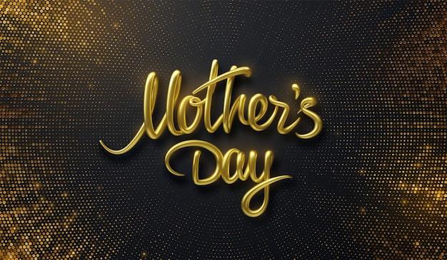 Sinal dourado do dia das mães em fundo preto com brilhos explosivos Vetor Premium