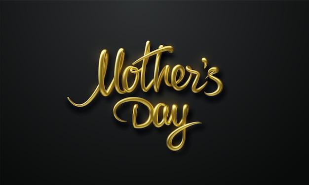 Sinal dourado do dia das mães em fundo preto