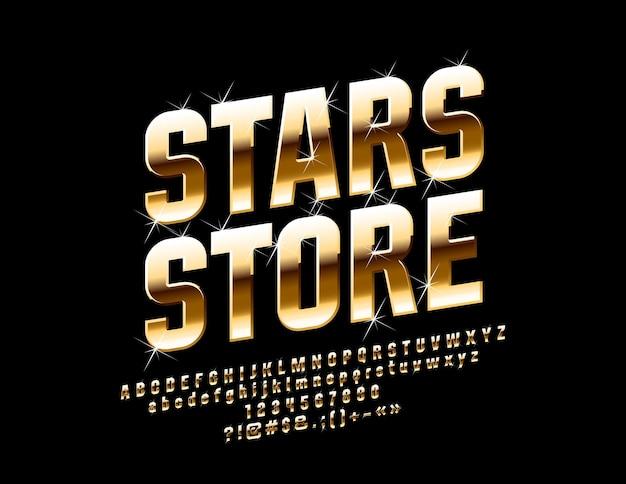 Sinal dourado stars store com luxury font. conjunto de letras, números e símbolos de elite brilhante