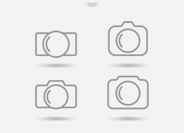 Sinal e símbolo da câmera. ícone da foto ou ícone da imagem. ilustração vetorial.
