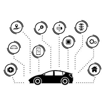 Sinal e símbolo da tecnologia do carro sem motorista dos carros espertos.