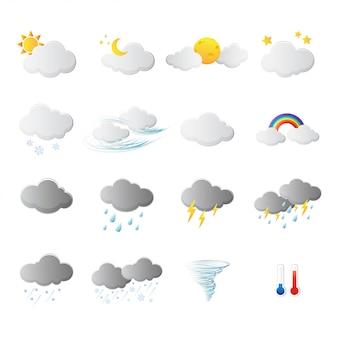 Sinal e símbolo dos ícones do clima