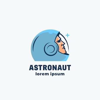 Sinal, emblema, ícone ou modelo de logotipo de vetor abstrato de astronauta