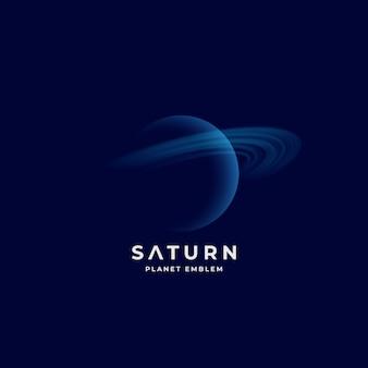 Sinal, emblema ou modelo de logotipo do planeta saturno abstrato