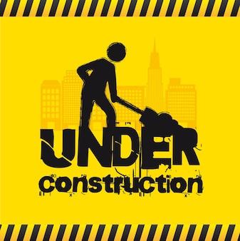 Sinal estrada, com, homem, sob, construção, vetorial, ilustração