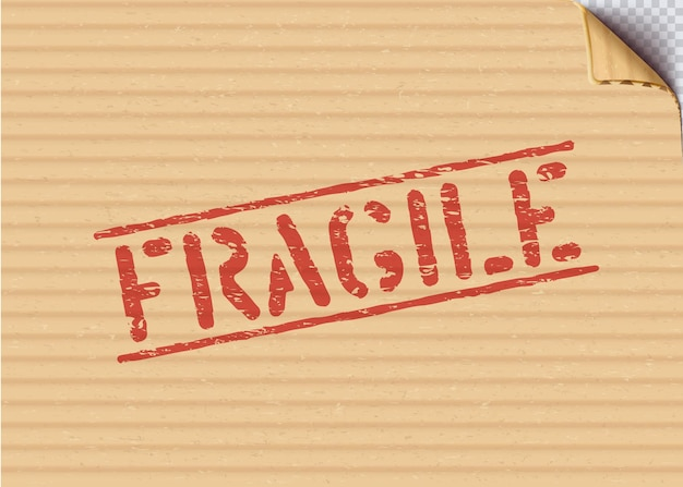 Sinal frágil do grunge em caixa de papelão para logística ou carga. significa que não esmague, manuseie com cuidado. ilustração vetorial com canto de papelão dobrado