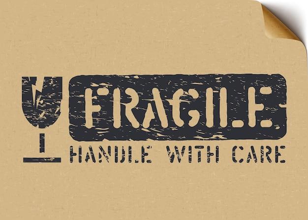 Sinal frágil do grunge na caixa de papel artesanal para logística ou carga. significa que não esmague, manuseie com cuidado. ilustração vetorial