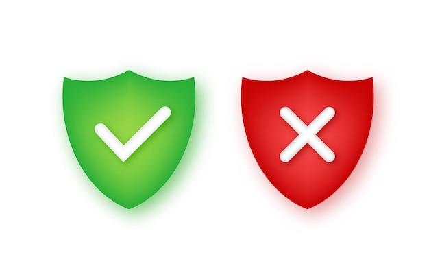 Sinal incorreto correto ícone de marca certa e errada verifique ok sim não marcas x para votar