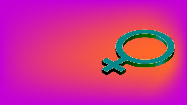 Sinal isométrico do gênero feminino com espaço de cópia no fundo rosa. símbolo feminino para banner. ilustração vetorial.