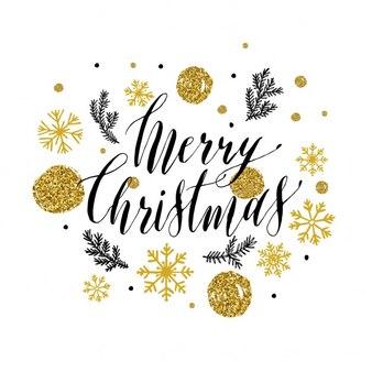 Sinal lettering do feliz natal com brilhos de ouro
