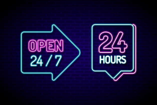 Sinal luminoso de 'aberto vinte e quatro horas'