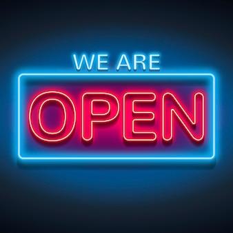 Sinal luminoso de 'estamos abertos'