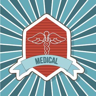 Sinal médico sobre ilustração em vetor fundo rótulo