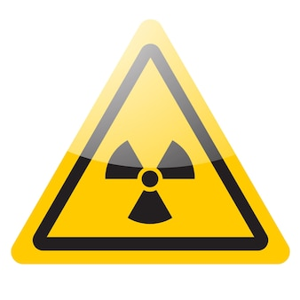 Sinal nuclear de aviso amarelo. ícone do símbolo de perigo de radiação. ilustração vetorial