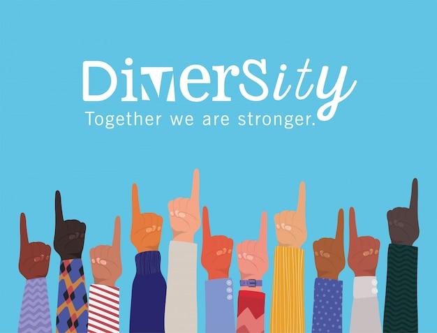 Sinal número um com as mãos ao alto e diversidade juntos somos um design mais forte, pessoas, raça multiétnica e tema comunitário