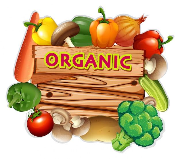 Sinal orgânico com legumes frescos