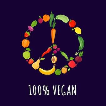 Sinal paz, de, legumes, e, frutas